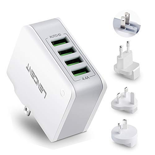 Multiple USB Wall Charger, [22W/4.4A] LENCENT 4 Port USB Travel Adapter, All in One USB Charger Plug with UK US EU European AUS Worldwide International Travel Phone Charger for iPhone, IPad & More by Lencent