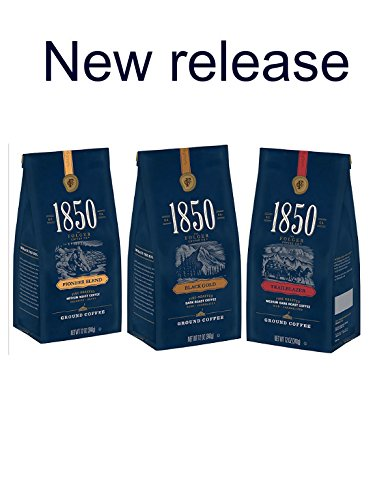 1850, 3-Pack Taster Kit of Folgers 1850 Ground Coffee, 3-12oz. Bags, Pioneer, Trailblazer & Black Gold Blends, Ranging from Medium To Dark Roast by Folgers
