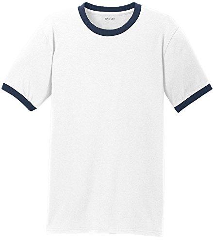 Joe's USA Mens Soft 5.4-Oz 100% Cotton Ringer T-Shirts-White/Navy-2XL ()