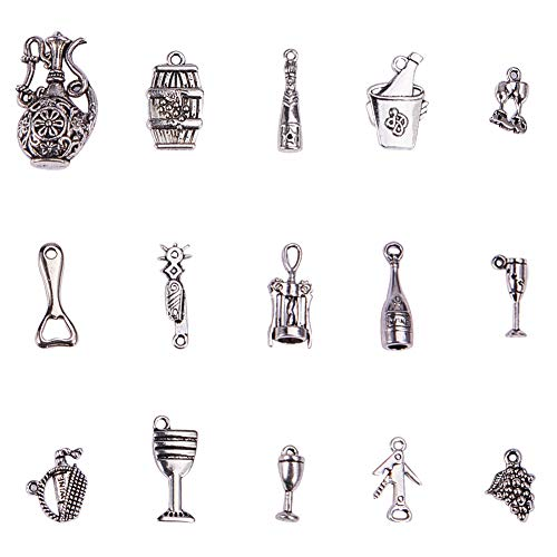(PH PandaHall 90 Pieces 15 Style Antique Silver Tibetan Alloy Wine Charms Pendants Beads Charms for Valentines Day Thanksgiving Day Father's Day DIY Necklace Bracelet Making)