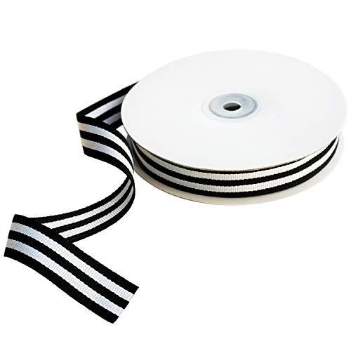 Black & White Taffy Striped Grosgrain Ribbon 3/4