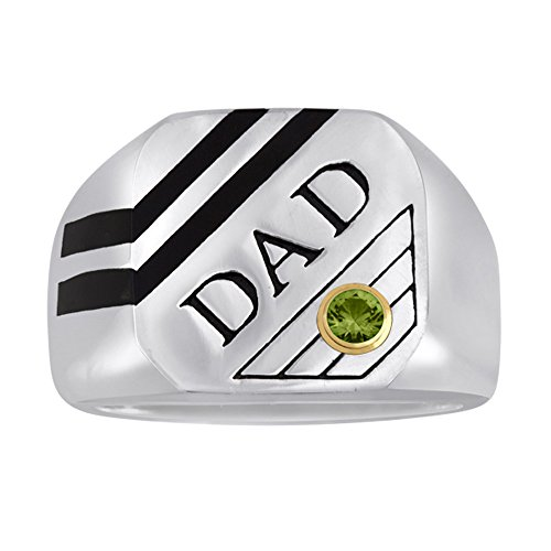 Esty   Me Mens Stainless Steel And Black Enamel Dad Ring With Swarovski Simulated Birthstone  August Size 10