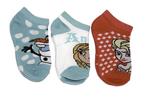 Disney Frozen Girls Elsa and Anna Ankle Socks, 3 Pack
