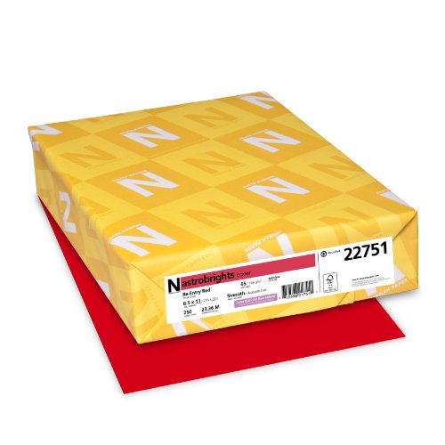 Neenah Astrobrights Premium Color Card Stock, 65 lb, 8.5 x 11 Inches, 250 Sheets, Re-Entry Red