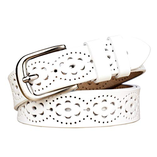 Design White Leather - Gackoko Women belt - Hollow Flower Cowhide Leather Belt Ladies Vintage Cowgirl Western Design With Alloy Buckle (L, White)