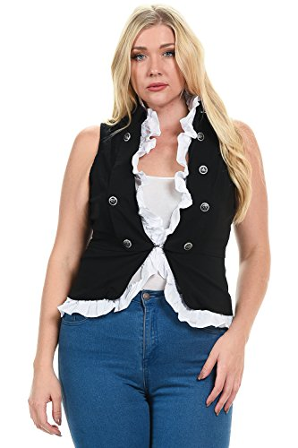 Military Look Double Button Breasted Vest Jacket With Detachable White Frilly Ruffle (1X-Large, Black)
