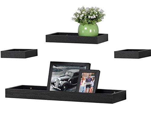 O&K Furniture Multilength Floating Shelves Ledge Shelf Black Oak (22