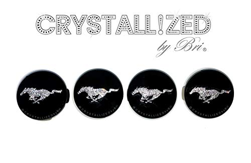 Set of 4 Swarovski CRYSTALLIZED Genuine Center Caps for FORD MUSTANG Wheel Rim Roundel Badge Bling Crystals