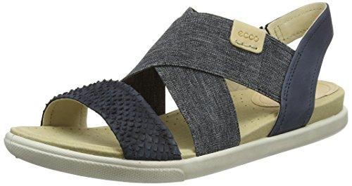 (ECCO Women's Damara 2-Strap Flat Sandal, black, Black/Black/Powder, 37 EU/6-6.5 M)