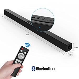 TV Sound Bar, Meidong Bluetooth Soundbar with Remote, 36 inch 2.0 Channel Home Theater Speakers, Wireless and Wired Bluetooth Audio for TV/PC/ Phones/Tablets/ Echo dot