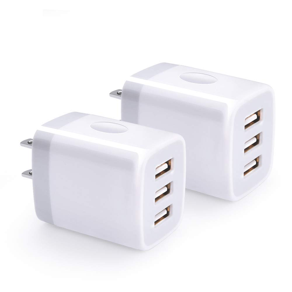 USB Wall Charger, Hootek 2-Pack USB Wall Plug 3-Port Charging Box 3.1A Power Adapter Multi Port Quick Charger Block Cube Compatible for iPhone XR/XS/XS MAX/X/8/7/6S Plus, iPad, Samsung, LG, HTC, Moto by Hootek