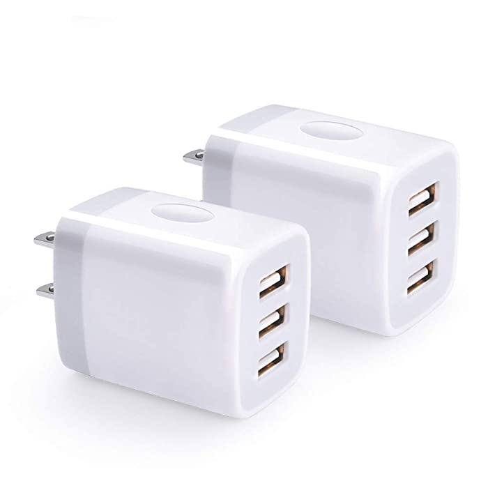USB Wall Charger, Hootek 2-Pack USB Wall Plug 3-Port Charging Box 3.1A Power Adapter Multi Port Quick Charger Block Cube Compatible for iPhone XR/XS/XS MAX/X/8/7/6S Plus, iPad, Samsung, LG, HTC, Moto