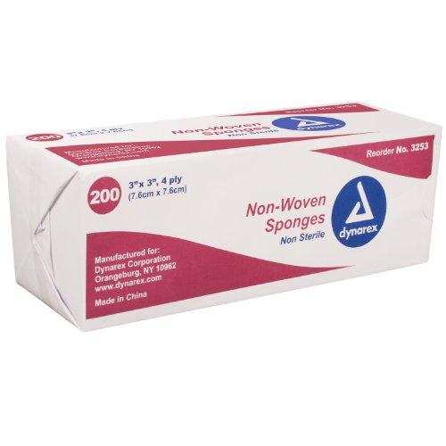 Gauze Non- Woven Sponges Non-Sterile - 3 In X 3 In - 4 Ply - 200 ea
