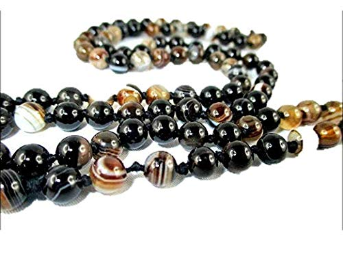- HiJet Suleiman Agate Buddha Head Mala Bracelet 28-32