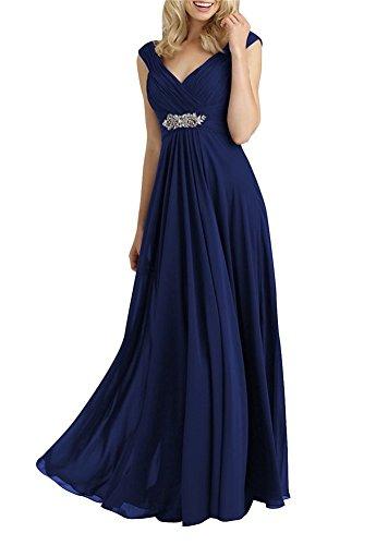 H.S.D Women's A Line V Neck Chiffon Mother of the Bride Dresses Navy Blue (Mulan Blue Dress)