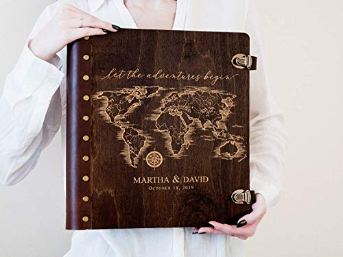 (Wedding Photo Album World Map Album Let the Adventures Begin Travel Photo Album Wanderlust Gift for Couple Magnetic Page Photo Album Self-Adhensive Album Wedding Gift Ideas Personalized Photo Album)