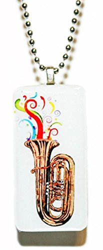 Tuba horn music confetti domino necklace by sousaphone