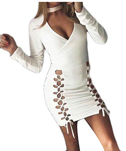Sleeve V Club Color Lace Choker Women's White Up Neck Jaycargogo Solid Long Bodycon Mini Dress IYqCWSw