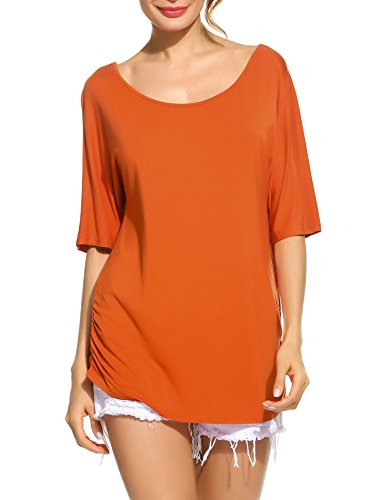 Meaneor Women's Loose Half Sleeve Round Neck Solid Summer T-shirt Tops Blouse Orange XL