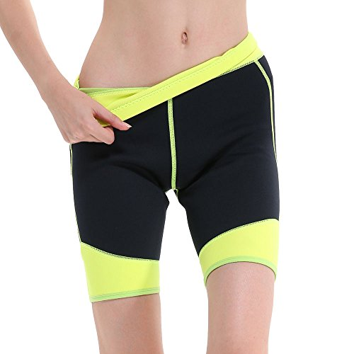 GoldFin Women's Wetsuit Shorts Pants 2mm Neoprene Shorts, Keep Warm for Diving Snokeling Swimming Surfing Scuba Pants with Pocket, BS003 (L, Black+Yellow) ()