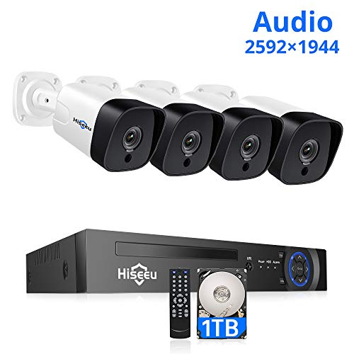 【5MP 8CH】 PoE Security Camera System,4Pcs UltraHD Cameras+8Channel 4MP/5MP NVR,2592 by 1944 Pixels,Phone&PC Remote,Microphone,Night Vision,Waterproof,Onvif,Motion Alert,24/7 Recording,H.265+,1TB HDD
