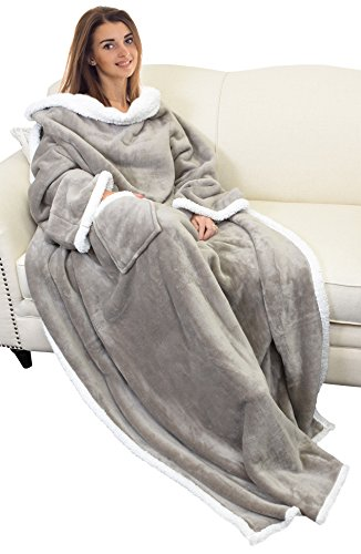 Catalonia Sherpa Wearable Blanket with Sleeves Arms,Super Soft Warm Comfy Large Fleece Plush Sleeved TV Throws Wrap Robe Blanket for Adult Women and Men (Gifts Christmas Cozy)