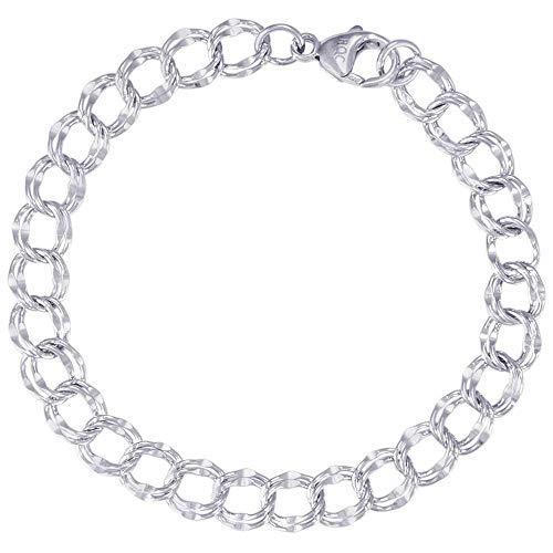 Double Link Silver Bracelet - Rembrandt Charms, Double Link Charm Bracelet, .925 Sterling Silver, 8