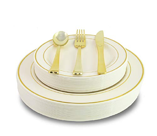 (200 Piece Heavyweight Party Disposable Plastic Plates and Cutlery Set Includes 40 Dinner Plates 40 Dessert Plates and 40 Pieces of Glossy Silver Plastic Forks Knives and Spoons (White/Gold))