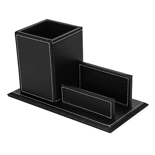 (PU Leather Pencil Holder Square Pens Pencils Holder Box Name Card Holder Black/Brown Desk Organizer Home Office Desk Accessories Storage Box Container)