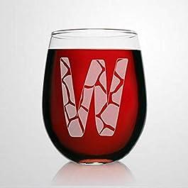 W Monogram Giraffe Wine Glasses Animal Print Stemless Wine Glass Laser Engraved custom Whiskey Glass custom Shot Glass…