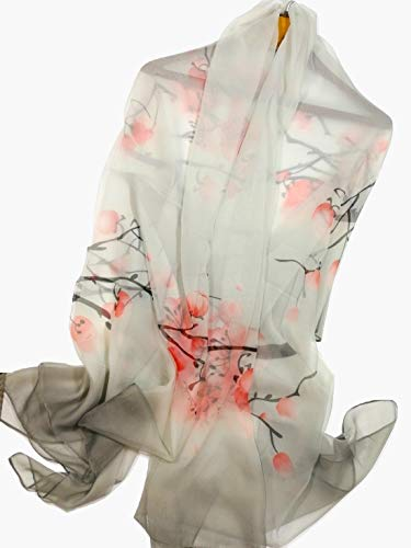 Shanlin Super Large Silk Feel Floral Scarves for Women (Plum-Blossom-Grey)