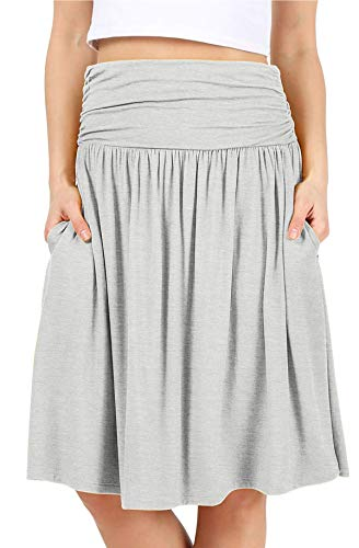 Grey Skirts for Women Reg and Plus Size Skirts a Line Knee Length Skirt Gray Pocket Skirt Heather Grey Skirt (Size Medium (US 6-8), H. Grey)