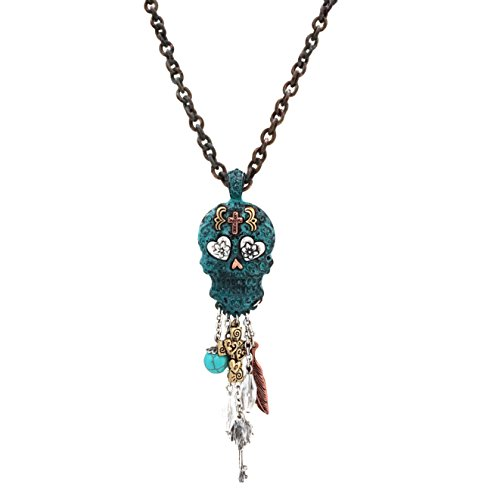 (Elosee Charm Dangling Sugar Skull Pendant Long Necklace 30 inch / 76cm (Patina))