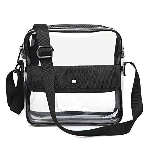 Clear Bag NFL Stadium Approved Crossbady Shoulder Bag Transparent Purse with Adjustable Strap (Black) ()