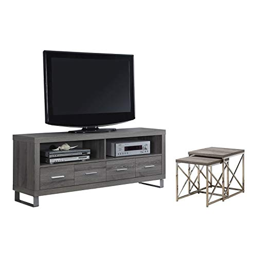 "MRT SUPPLY 60"" Entertainment Center TV Stand, Dark Taupe & 2"