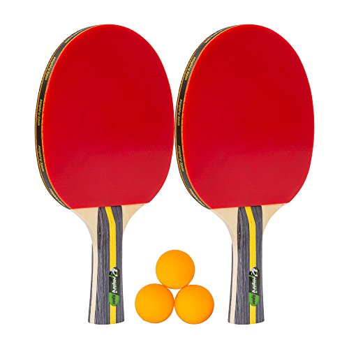 Defending Set - MightySpin [NEW] Ping Pong Paddle Set - Premium Table Tennis Racket Sets w/2 Soft Rubber Paddles, 3 Balls - Racquet for Practice Training Bat - Rackets Bundle for Family Home Play (2Paddle + 3Ball)