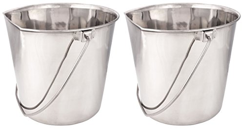 2 Pack of ProSelect Stainless Steel Flat Sided Pet Pails (1-Quart)