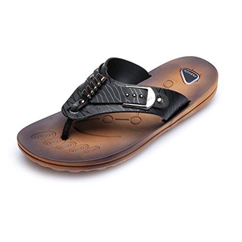 Jazlyn Mens England Cacual Soft Metal Buckle Flat Flip Flop Sandals shoes032-Black