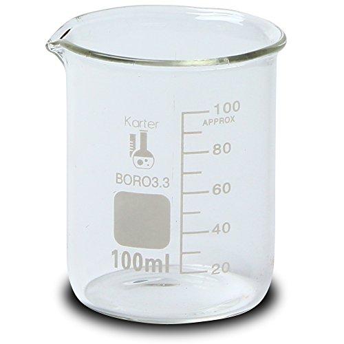 100ml Beaker, Low Form Griffin, Borosilicate 3.3 Glass, Graduated, Karter Scientific -