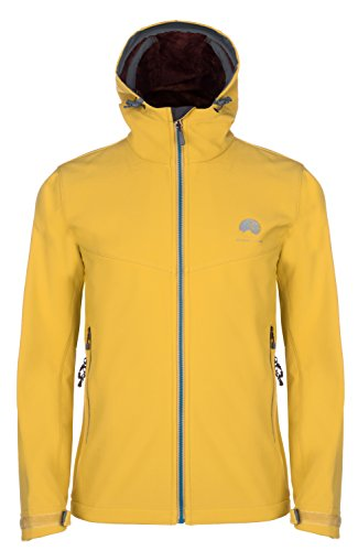 Mishmi Takin Qaras Waterproof, Windproof, High Loft Fleece-Lined Soft Shell Men's Mustard Yellow Jacket, Medium