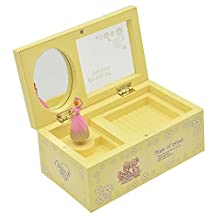 Elisona-Plastic Dancing Ballerina Mechanical Music Box Girls Kids Christmas Birthday Gift Yellow