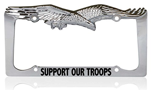 Custom Brother - SUPPORT OUR TROOPS Patriotic USA Eagle Metal Chrome License Plate Frame, License Tag Holder