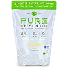 PURE Whey Protein Powder (Vanilla) by SFH   Best Tasting 100% Grass Fed Whey   All Natural   100% Non-GMO, No Artificials, Soy Free, Gluten Free   896g   30 servings