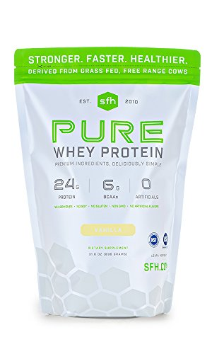 PURE Whey Protein Powder (Vanilla) by SFH | Best Tasting 100% Grass Fed Whey | All Natural | 100% Non-GMO, No Artificials, Soy Free, Gluten Free | 896g | 30 servings (Protein Whey Pure Nutrition)