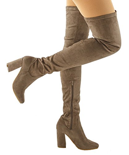 RF ROOM OF FASHION Women's Snug Fit Stacked Heel Over The Knee Boots - CA21 Taupe (8.5) by RF ROOM OF FASHION