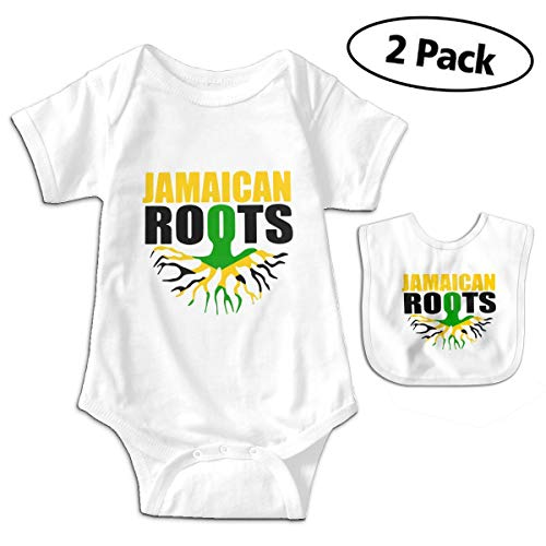Jamaican Roots Jamaica Flag Newborn Infant Baby Boys Girls Romper Bodysuit Short Sleeve Outfit Clothes One-Piece -