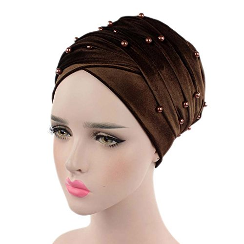Helisopus Women's Luxury Velvet Turban Headband Pearl Pleated Long Head Wrap Hijab Tube Scarf