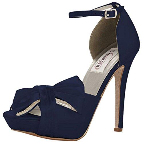 Davids Bridal Jay Tinture Piattaforma Peep Toe Pompa Stile Jay Marino