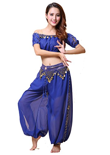 ZLTdream Lady's Belly Dance Chiffon Bra Top and Lantern Coins Pants Dark Blue (Dark Dance Costumes)