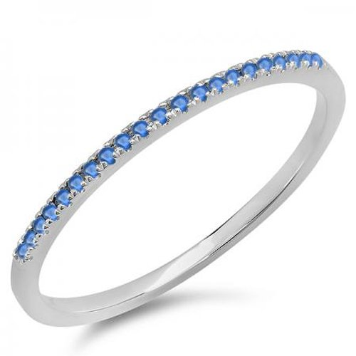 0.08 Carat (ctw) 10K White Gold Round Blue Sapphire Ladies Dainty Anniversary Wedding Stackable Ring